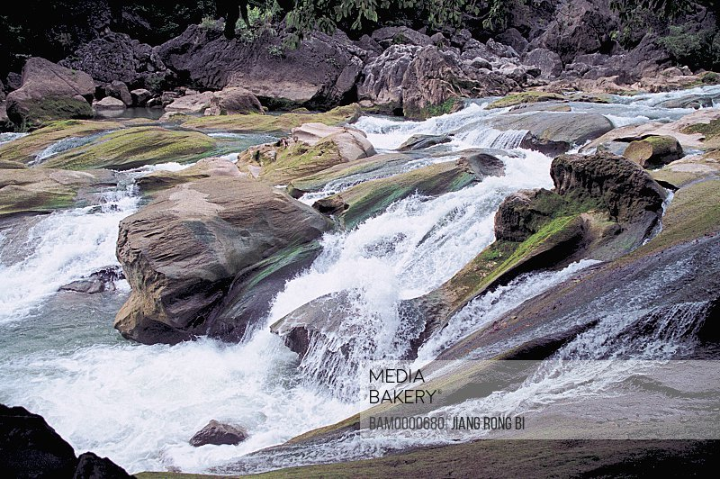 Rocks and stream in forest, The scenery of Tianxing Bridge scenic area, Anshun City, Guizhou Province of People's Republic of China