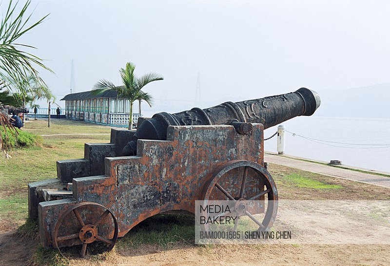 An antique cannon in Ancient fort, Luo Xingta park, Mawei District, Fuzhou City, Fujian Province of People's Republic of China