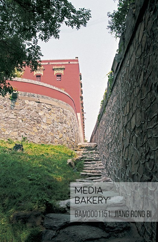 Low angle view of stone steps amid structure, The stone wall of the Chengde Summer Resort, Chengde City, Hebei Province of People's Republic of China
