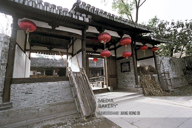 Ancient house with Chinese lanterns on entrance, Gate of Ancient Residence in Ancient Furong Village, Nanxi River, Yongjia County, Zhejiang Province, People's Republic of China