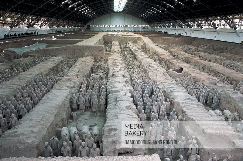 Elevated view of exhibited statues of warrior, Pit of Emperor Qinshihuang's Terracotta Warriors and Horses, Xi'an City, Shanxi Province, People's Republic of China