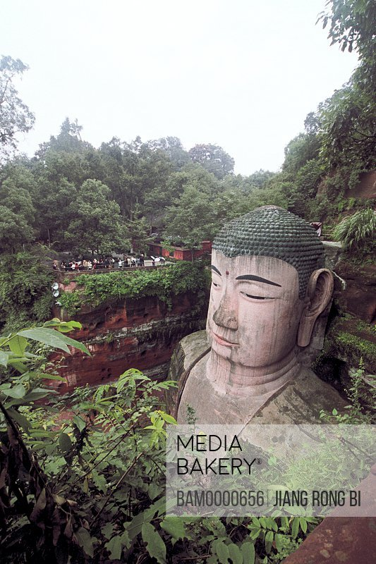 Elevated view of the Leshan big Buddha, the biggest carved stone figure in the world, Leshan City, Sichuan Province of People's Republic of China
