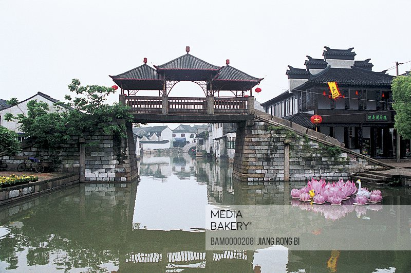 View of old bridge on river, The old bridge of Tongli region of rivers and lakes pond, Tongli Town, Wujiang City, Jiangsu Province of People's Republic of China