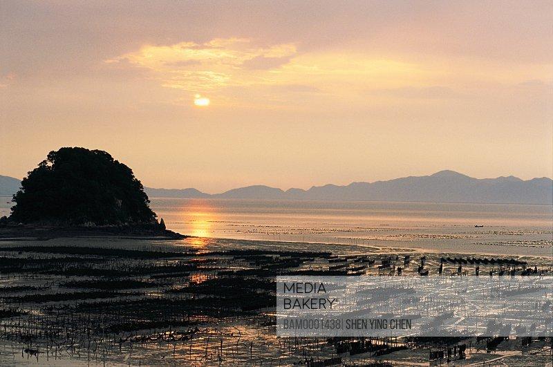 View of a sea against sky, Marine cultivation of Xinan, Xinan, Xiaopu County, Fujian Province of the People's Republic of China