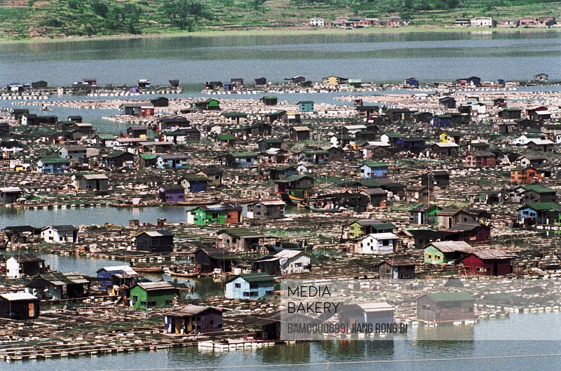 Elevated view of fishing raft on the sea, Xiapu County, Ningde City, Fujian Province, People's Republic of China