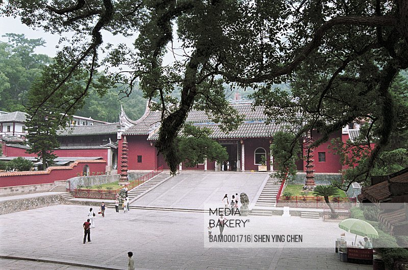 Elevated view of devotees outside temple, Sakyamuni valuable palace of Yongquan Temple, Gushan, Fuzhou City, Fujian Province of People's Republic of China