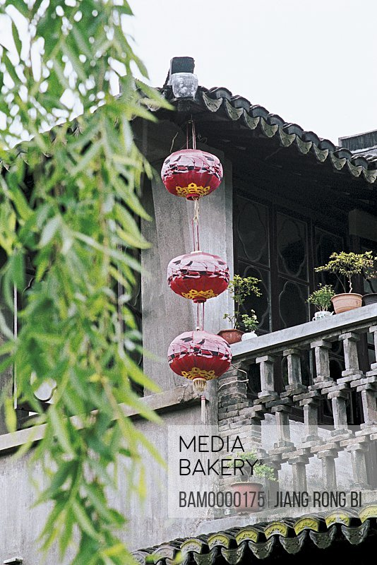 View of a house with Chinese lanterns, Ancient Residence in Xitang Town, Jiaxing City, Zhejiang Province, People's Republic of China