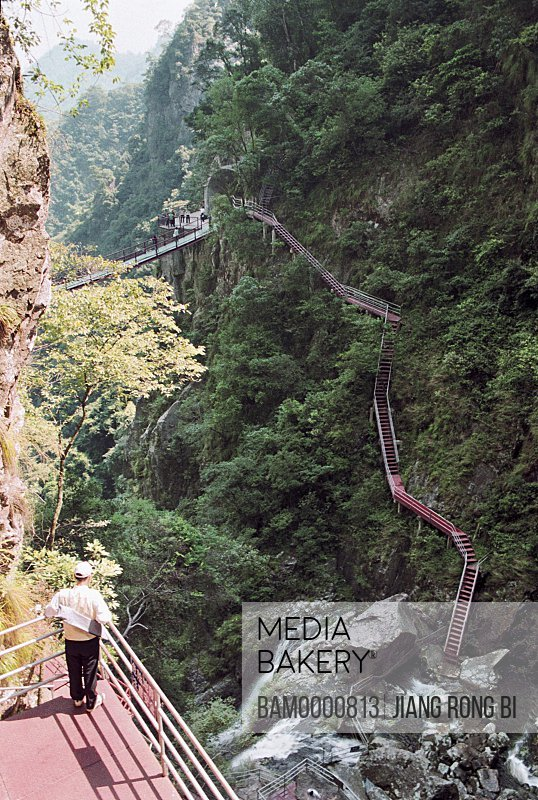 Sightseeing Iron Ladder in Qishan Park , Minhou County, Fuzhou City, Fujian Province, People's Republic of China
