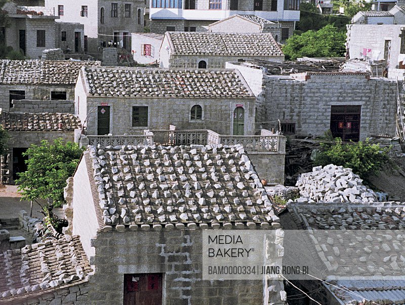 Elevated view of rooftops of stone-laid houses, Pingtan Island, Pingtan County, Fujian Province, People's Republic of China