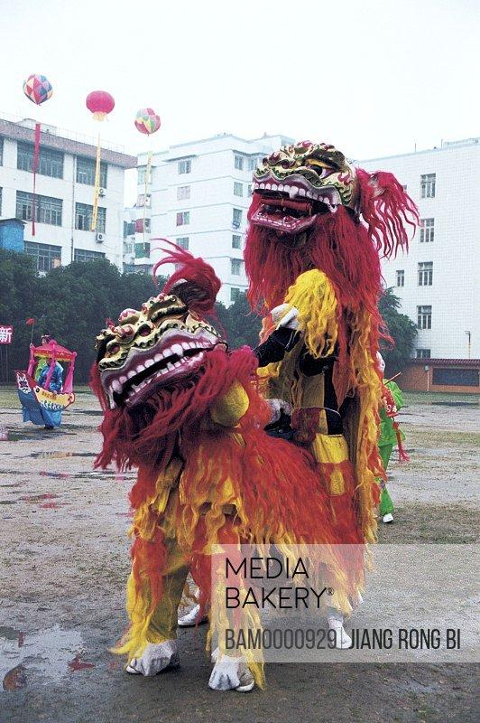 Waving lion performance in the folk festival in Jin'an district, Fuzhou City, Fujian Province, People's Republic of China