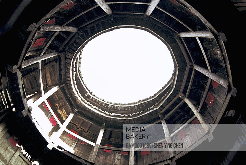 Low angle view of sky through building, Internal structure of the smallest earth building, Cuihui building, Nanjing County, Fujian Province of People's Republic of China