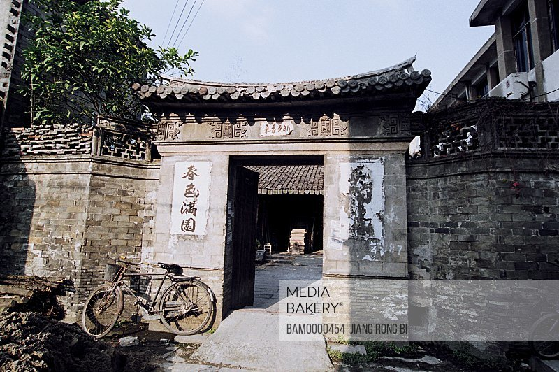 Bicycle parked at the entrance of a house, Ancient Residence in Yongchang, Yongchang County, Wenzhou City, Zhejiang Province, People's Republic of China