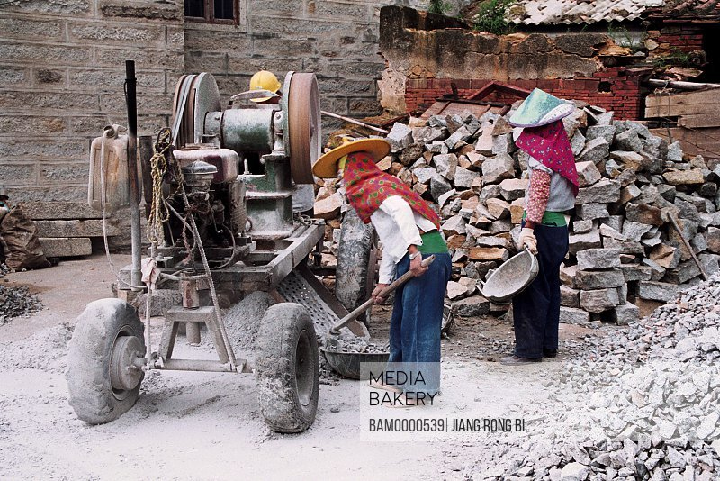 View of people working on construction site, Huian Ladies Farming in Xiaozuo Village, Chongwu Town, Huian County, Fujian Province, People's Republic of China