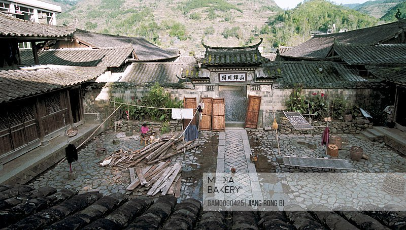 Elevated view of Large Courtyard of Ancient Residence, Taishun County, Zhejiang Province, People's Republic of China