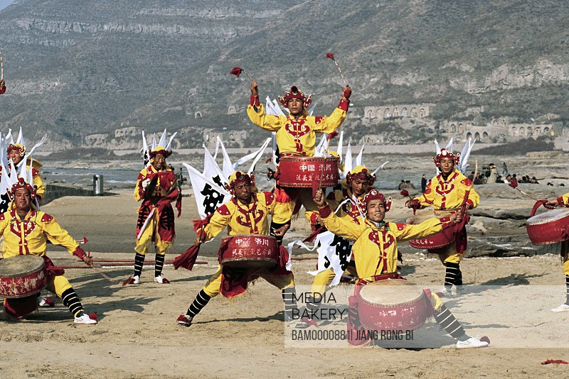 Luochuan Biegu Drum Show in Front of Huanghe River Hukou Waterfall, Yichuan County, Yan'an City, Shanxi Province, People's Republic of China