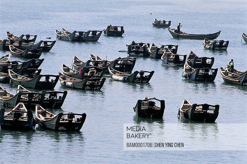 Boats at sea, The fishing boat at seashore of the Lianjiang, Lianjiang County, Fujian Province of People's Republic of China