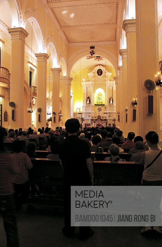 People praying in the church, The inner scenery of rose church of goddess, Macao special administration region of People's Republic of China