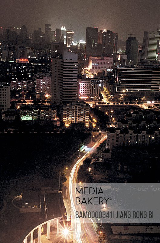 Elevated view of illuminated buildings, Night scenery of Wenquan road, Fuzhou City, Fujian Province, People's Republic of China