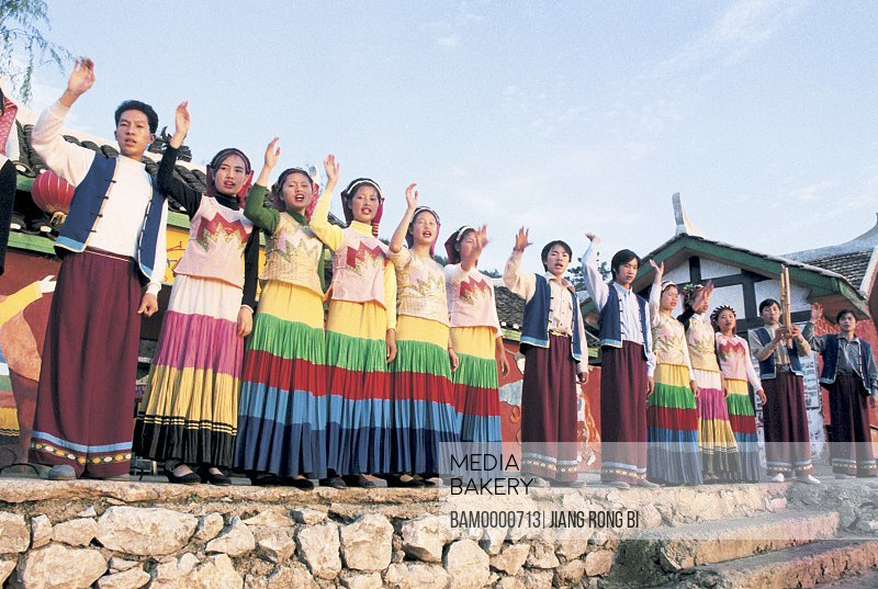 Portrait of Miao minority people of thousand's houses are welcoming guests, Thousand of Miao minority's house of Xijiang, Kaili City, Guizhou Province of People's Republic of China