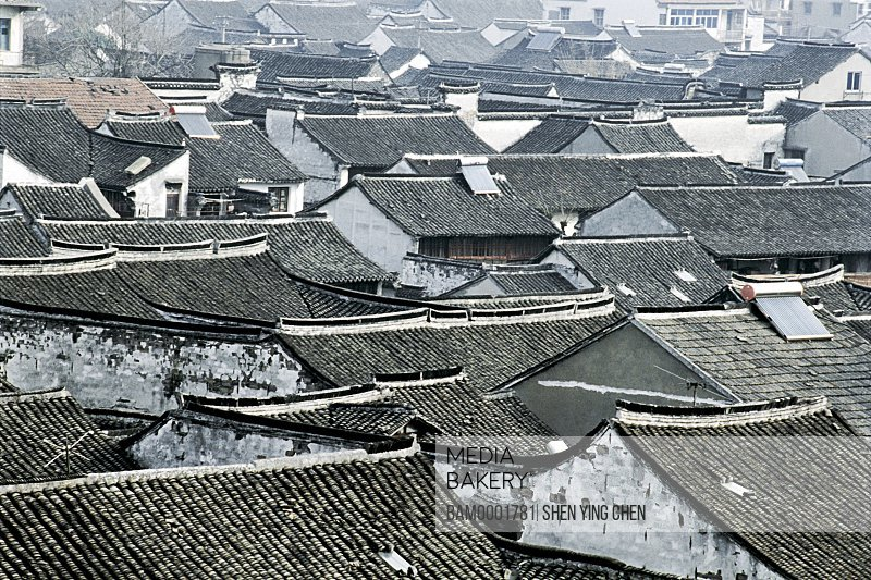 Elevated view of roofed houses, Ming and Qing dynasty historic building of old Xitan Town, Jiaxing city of Zhejiang province in People'c republic of China