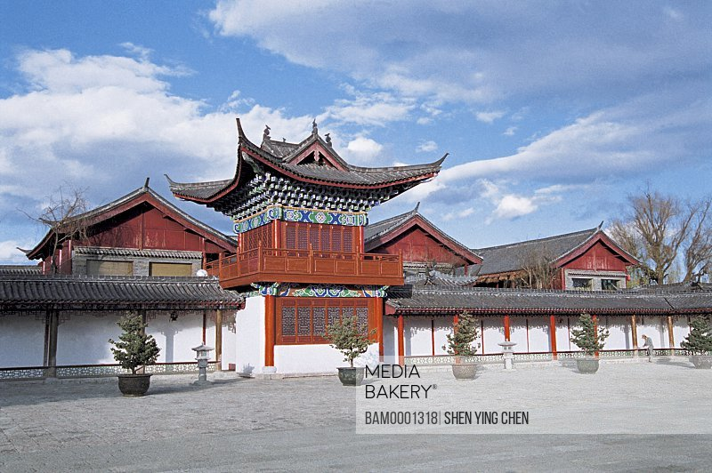 Exterior of a shrine, Construction of wooden storehouse government office , Lijiang old city, Yunnan Province of People's Republic of China