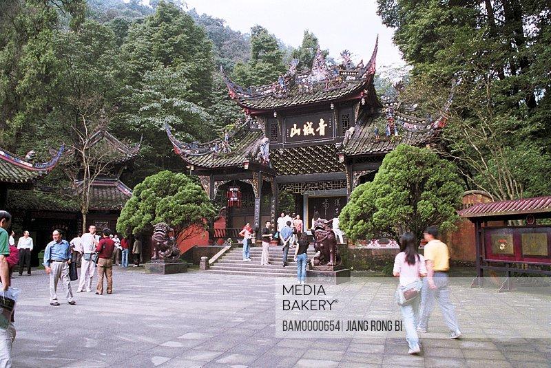 Mountain door scenery in Qingcheng Mountain, Dujiangyan City, Sichuan Province of People's Republic of China