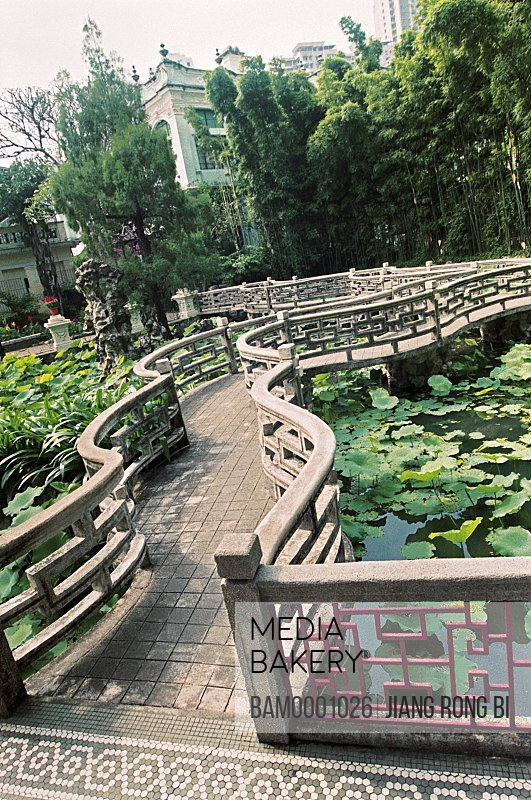 Passageway amid pond, The Lulianruo Park with Suzhou garden charm, Macao special administration region of People's Republic of China