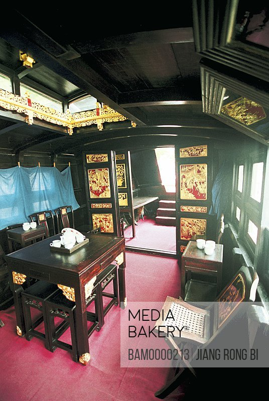 Interior of pleasure boat, The chinese communist party pleasure-boat of cite of an association of first national congress belongings, Nan lake, Jiaxing City, Zhejiang Province of People's Republic of China