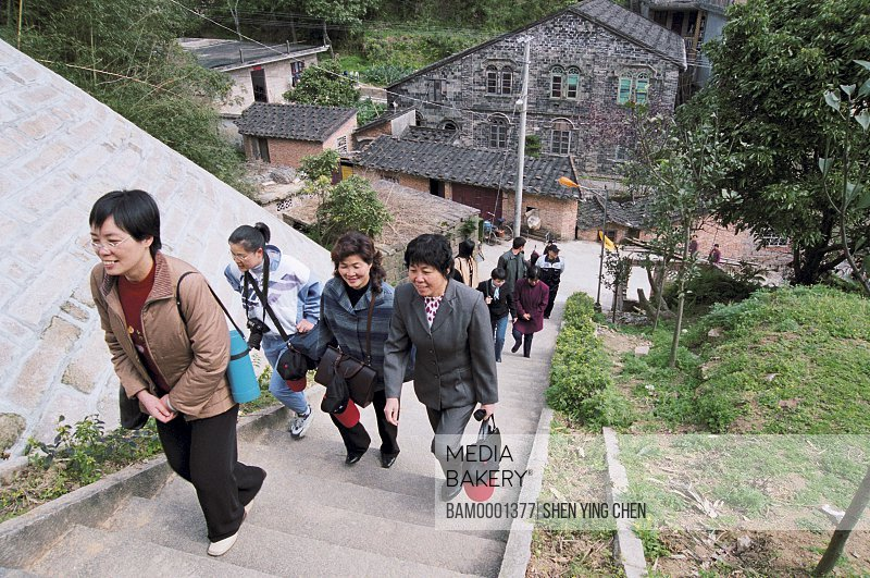 People walking on staircase, People have a spring tour in Sanduao, Sanduao, Ningde County, Fujian Province of People's Republic of China