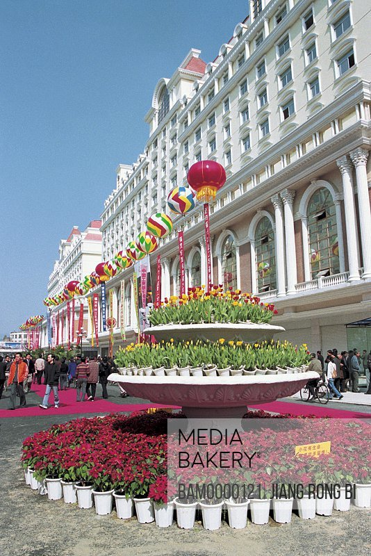 Flower nursery on street by buildings, Zhongting street, Fuzhou City, Fujian Province, People's Republic of China