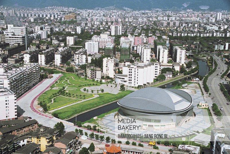 Looking down at the gymnasium of Fuzhou City, Fuzhou City, Fujian Province of People's Republic of China