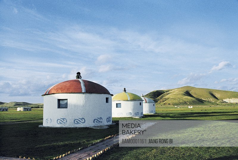 View of barns amid grassland, Mongolia yurt on the Prairie, Guyuan County, Hebei Province of People's Republic of China