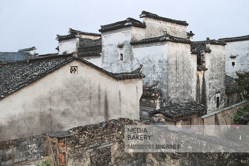 Elevated view of tiled roof of the houses, Ancient Residence in Ancient Pingshan Village, Yixian County, Anhui Province, PRC