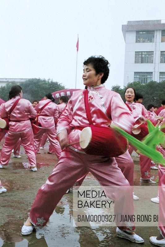 Waist drum performance in the folk festival in Jin'an district, Fuzhou City, Fujian Province, People's Republic of China