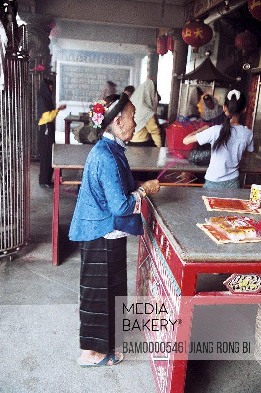 Huian Ladies Praying in Temple, Chongwu Town, Huian County, Fujian Province, People's Republic of China