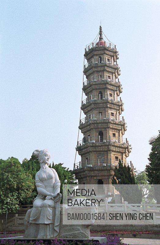 Luoxing Tower and Jiuniang sculpture, Luo Xingta park, Mawei District, Fuzhou City, Fujian Province of People's Republic of China