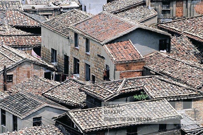 Elevated view of congested rooftops, Fishing Village of the Dajian , Taiquan Town, Lianjiang County, Fuzhou City, Fujian Province of People's Republic of China