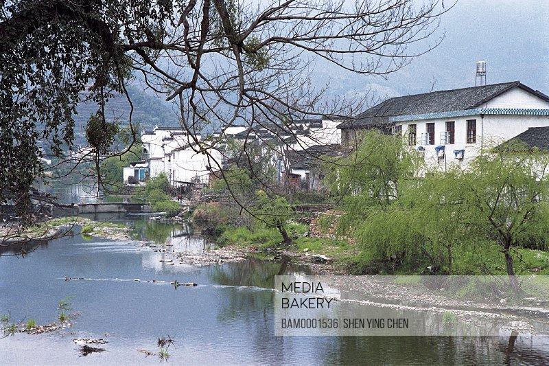 The Village river by the Qinghua Town, Qinghuai Town, Wuyuan County, Jiangxi Province of People's Republic of China