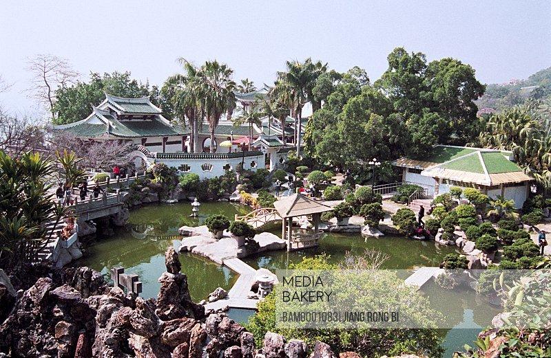 Elevated view of Shuzhuang garden, Scenery of Shuzhuang Garden on Gulangyu Island, Gulangyu Island, Xiamen City, Fujian Province, PRC