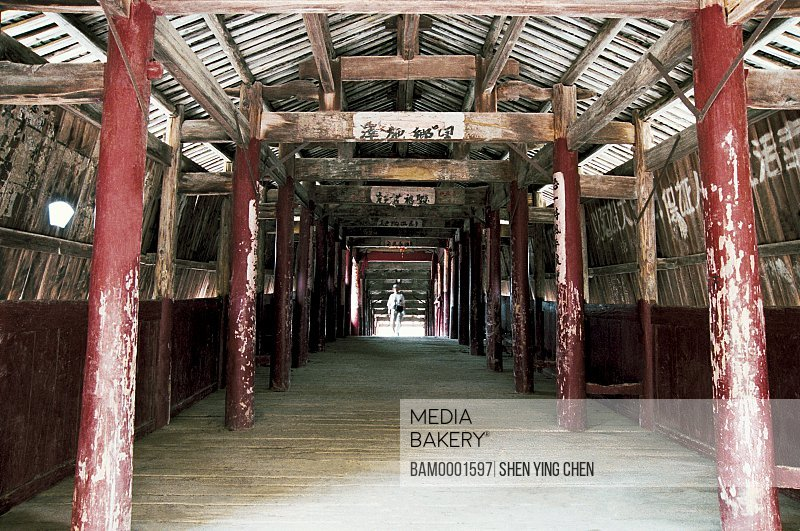 Enclosed passage with wood posts and hardwood floor, Torch bridge of Shouning County, Shouning County, Fujian Province of People's Republic of China