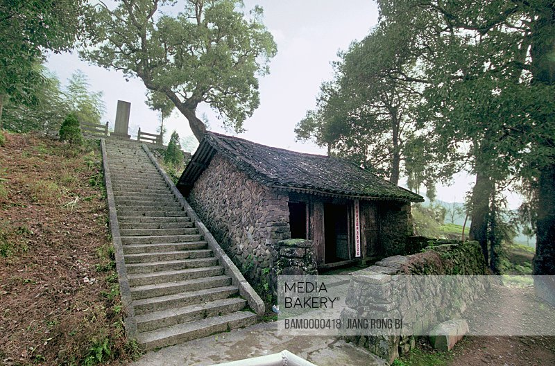 View of house by staircase, Site Where the Min-Zhe Red Army Detachment Was Founded, Taishun County, Zhejiang Province, People's Republic of China