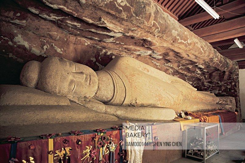 Reclining buddha of Bingling Temple, Liujia Gorge, Yongjin County, Gansu Province of People's Republic of China