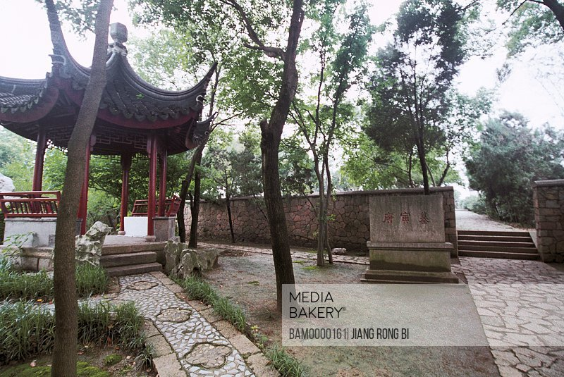 View of a structure with trees around, The tomb of Tangyin, The gifted scholar of the Ming dynasty, Suzhou City, Jiangsu Province of People's Republic of China