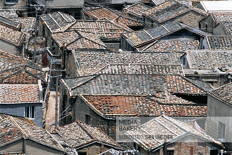 Elevated view of congested rooftops, Fishing Village of the Dajian , Taiquan Town, Lianjiang County, Fuzhou City, Fujian Province of People's Republic of China