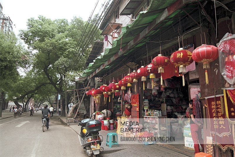 Chinese lanterns displayed at shops by street, Scenery of south back street, Back South street, Fuzhou City, Fujian Province of People's Republic of China
