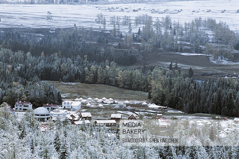 Elevated view of houses surrounded by trees, The early winter of the Kenasi, Buerjin County, Xinjiang Uygur Autonomous Region of People's Republic of China