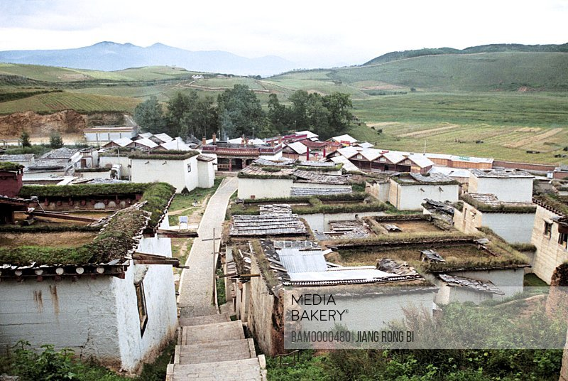 Elevated view of houses, A Corner of Gedan Songzanlin Lamasery, Shangri-la County, Diqing Prefecture, Yunnan Province, People's Republic of China