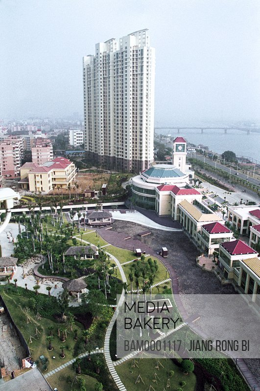 Elevated view of city with tower by structure, The inner sight in the outward beach garden of Shimao, Fuzhou City, Fujian Province, People's Republic of China