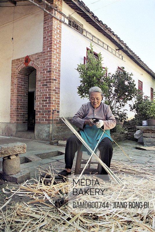 Yanshou Village's Elder Making Bamboo Basket, Chengxian District, Putian City, Fujian Province, People's Republic of China