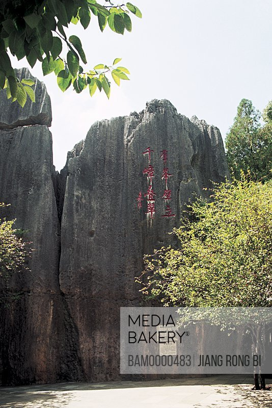 View of a huge inscribed rock at Stone Forest, View of Stone Forest, Shiling County, Kunming City, Yunnan Province, People's Republic of China